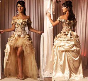 Champagne Princess Hi-Low Lace 2021 Платья выпускного вечера Дешевые платье невесты Платье без спинки Одним направлением Дешевые Викторианское маскарадное платье
