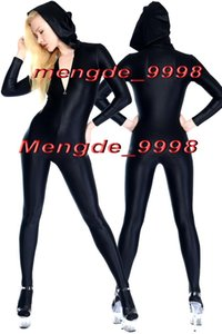 Trajes de traje de traje de traje de cuerpo de lycra spandex negro sexy Traje sexy Unisex Trajes de cosplay Traje con sombrero Traje de cosplay de Halloween M068