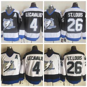 Mens Tampa Bay Lightning хоккей 26 Мартин Сент-Луис 4 Винсент Лекавалье черного Джерси Vintage CCM прошитых Дешевые рубашки заплата