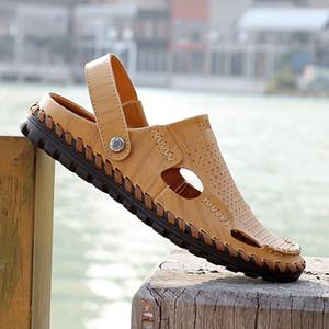 Sandales en cuir pour hommes en gros-faits main 2016 été nouvelles chaussures respirantes simples et confortables (taille: 39-44)