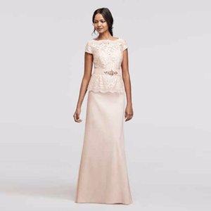 Cap Sleeve Pullu Dantel Mock İki Adet Elbise 3467DB Pembe Seksi anne Gelin Dres Düğün Parti Elbise Resmi Elbiseler