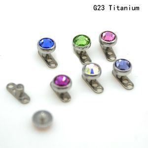Dermal Ancoraggio Pelle Diver Body Piercing Gioielli Grado 23 Titanium G23 CZ Gem Crystal Gem 4mm Testa Micro Detainer