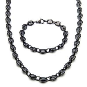 Moda Jewlery 9 mm de ancho a estrenar de los hombres / mujeres de Plata / Negro / Golg acero inoxidable del tono del grano de café cadena de acoplamiento de la pulsera del collar nb07