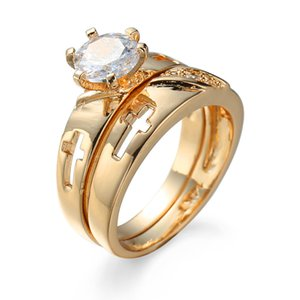 SZ6-10 Fashion Zricon Gems Real Gold Plated Engagement Wedding Promise Finger Ring Sets