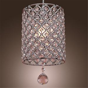 Lámpara colgante de cristal contemporánea de una sola cabeza Lámpara de cristal de estilo cilíndrico Lámpara de techo Lámpara de dormitorio Lámpara de barra