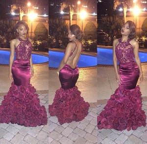 Seksi Mermaid Afrika Şarap Kırmızı Gelinlik Modelleri Siyah Kızlar için Aç Geri Çiçekler Aplike Bordo Parti Elbise Kadınlar için 2017