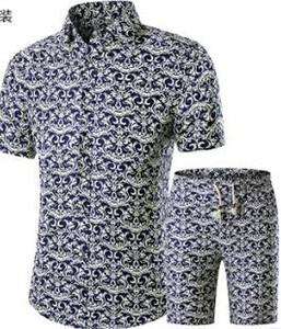 Yaz Erkekler Gömlek + Şort Set Yeni Rahat Baskılı Hawaiian Moda Gömlek Homme Kısa Erkek Baskı Elbise Suit Setleri Artı Boyutu