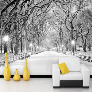 Stereo Preto e Branco da paisagem da neve Photo Mural Wallpaper 3D Sala Quarto contexto da parede Home Decor Papel de Parede 3D