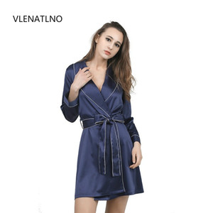 Wholesale- High Grade Satin Chiffon Robe Solid Spring Summer Sexy Women Bathrobe Home Clothes Sleepwear Bath Robes Women's Dressing Gown