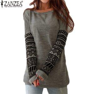 Großhandels-Herbst-Frauen-T-Shirt O-Ansatz-lange Hülsen-gedruckte Pullover-Art- und Weiselose T-Shirt Oberseiten Roupas de Mujer 2016 neues Blusas S-5XL