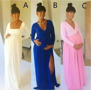 Vestidos de noche modernos y modernos de maternidad sexy con cuello en V con abertura en el cuello Azul real Baby Shower Vestidos de manga larga para embarazadas Baratos