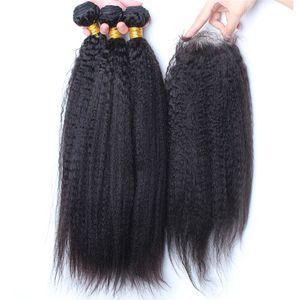 De Bonne Qualité Faisceaux de cheveux raides crépus avec la fermeture de dentelle 4Pcs / Lot Faisceaux de cheveux de Yaki grossiers italiens avec la fermeture de dentelle 4x4