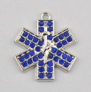 10 teile / los Vintage Metall Rhodium Überzogene Frauen Schmuck Blauen Kristall EMT Krankenschwester Medical Alert Medizinische Anhänger Halskette Anhänger