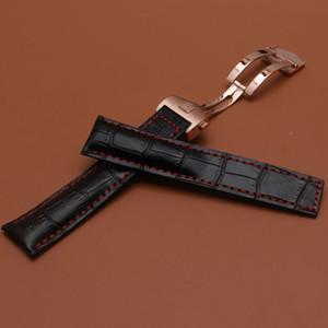Siyah Watchband hakiki Inek Derisi deri Saat kayışı timsah tahıl kırmızı çizgi ile moda izle aksesuarları 20mm 22mm rosegold toka yeni