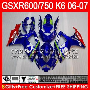 8Gifts 23Colors Body Pour SUZUKI GSX-R750 GSXR600 GSXR750 06 07 10HM8 GSX R600 R750 K6 GSX-R600 GSXR 600 750 2006 2007 Carénage Bleu blanc