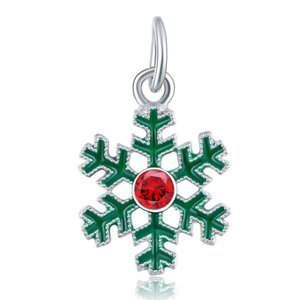 Wholesale 20pcs lot Fashion Green Snowflake Design Alloy metal Dangle DIY Charms fit European Bracelet & Necklace Low Price