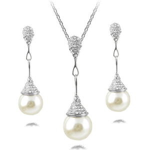 Feine Accessoires Schmuck Sets Perlen Strass Braut Hochzeit Halsreifen Ketten Halsketten Anhänger Charm Wassertropfen Ohrringe für Frauen