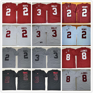 College Alabama Crimson Tide Jerseys 2 Jalen Hurts 3 Ridley Blackout Gridiron Gray Red White 8 Julio Jones 2 Derrick Henry Jersey