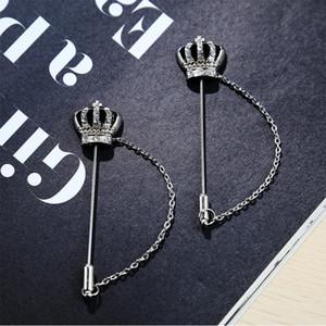 Männer Silber Gold Crown Tiara Kreuz Kristall Kette Revers Stick Pin Tie Hut Schal Brosche Anzug Voutonniere Taste Frauen Männlich Schmuck Broches