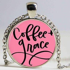 Café Médio E Colar De Grace Coffee Quote Pingente Christian Jóias Inspirado Presente Citação vidro arte dome