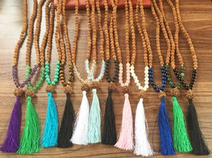 12 colors 108 Mala Beads Heart Chakra Necklace Yoga Meditation Rudraksha Prayer Beads Tassel Necklace Bohemian Bodhi necklaces