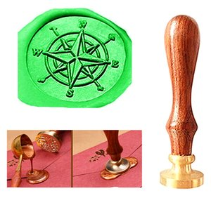 Custom Vintage Compass Star Orientation Personalized Picture Letter Logo Wedding Invitation Wax Seal Stamp Rosewood Handle Set