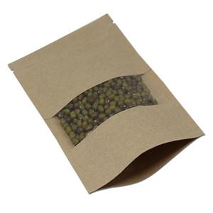 "6.3 ""x8.7""(16x22cm) 스탠드 크래프트 지폐 / 클리어 윈도우 플라스틱 팩 가방 커피 너트 보관 지퍼 Doypack 파우치"