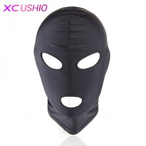 Hafif Elastik Spandex Seks Maskesi Başkanı Hood Fetiş Başlık Koşum Esaret Cosplay Parti Maskesi Yetişkin Oyunu Seks Oyuncakları Çift için 0701
