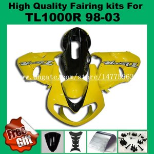 9Gifts + Kits de carenagem para SUZUKI TL1000R 1998 1999 2000 2001 2002 TL1000 R 98 99 00 01 02 Kit de carenagens amarelo preto # CJ9L22