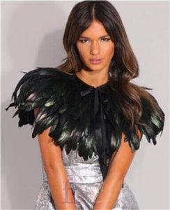 Faux Fur Bridal Jacket Black Green Feather Furs Collar Cape Shawls Wrap Fringe Party Evening Dress Fur capes