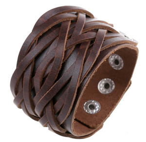 Leather Cuff Double Wide Bracelet and Rope Bangles Brown for Men Fashion Man Bracelet Unisex Jewelry