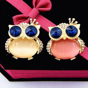 Blue Eye Baykuş Broş Moda Opal Baykuş Broş iğneler Moda Lady Eşarp Broş Kadınlar Broş Toka iğneler Güzel iğneler