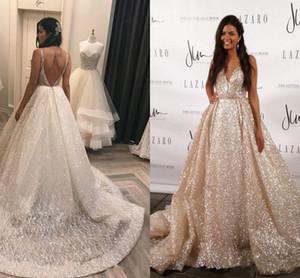 2017 Nueva Elegante Sparkling V Lentejuelas de Cuello Una Línea de Vestidos de Novia Sin Espalda Sin Respaldo Plisado Arco Sash Vestidos de Novia Por Encargo