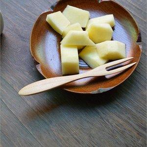 12 * 1.4 см десертная вилка Burlywood резиновый деревянный торт мороженое вилка мода Японский стиль Кухня столовые приборы