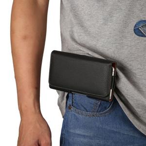 Pelle Universale del grano del litchi PU Case Cover Pouch vita con clip da cintura per 4,7 a 6.3inch del cellulare per iPhone Pro 11 Max Samsung Note 10