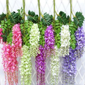 Al por mayor-Multi color flores artificiales Flor de seda Wisteria Vine flor de ratán para centros de mesa de boda decoraciones para el hogar A0740