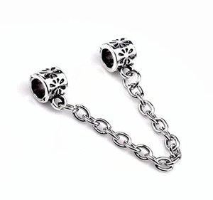 acessórios de moda de prata banhado a corrente de segurança Flores Big Hole solta pérolas Pandor DIY Jóias Pulseira Europeia bracelete frisado Necklac