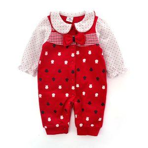 신생아 아기 소녀 빨간 Bowknot 유아 공주 Jumpsuit 목화 아기 Romper 옷
