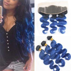 Ombre 1B Синие пучки волос девственницы с кружевом Фронтальная закрытие Темные корни Синие волны Ombre Объемная волна волос с 13 * 4 кружевными лобными