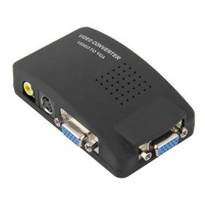 PC Portátil Composto AV / S Vídeo Para VGA TV Conversor Adaptador Monitor de Caixa de Comutação LCD Out Conversor Adaptador Caixa de Comutação