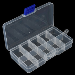 Al por mayor 1Pcs atraer a la pesca gancho ajustable Viveros de cebo de pesca 10 compartimentos de plástico caja de aparejos para la pesca Accesorios al por mayor