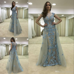 Elegant Beaded Overskirt Formal Dresses Evening Wears 2018 Sheer Bateau Neck Prom Gowns Sleeves Floor Length Appliques Tulle Party Dress