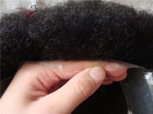 Lumeng peruk Brezilyalı bakire insan saçı afro kinky kıvırmak erkekler transparan fransız dantel şeffaf cilt ile stokta pu değiştirme