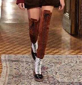 Colori misti Stivali da donna stile occidentale Stivali coscia da donna Celebrity Stivali da moto Donna Stivali sopra il ginocchio Scarpe stringate Stivali lunghi Donna