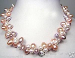 Collana girocollo bicolore bianca con gemme di acqua dolce viola rosa