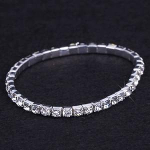 24 pezzi braccialetto delle donne d'argento lotto dei monili nuziale elastica di cristallo del Rhinestone Stretch Bangle Accessori sposa all'ingrosso