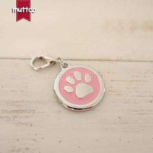 Freeship 30mm paw impressão dog id tags para animais de estimação, frete grátis metal rodada dog name tags colarinho gato filhote de cachorro em branco cão charme