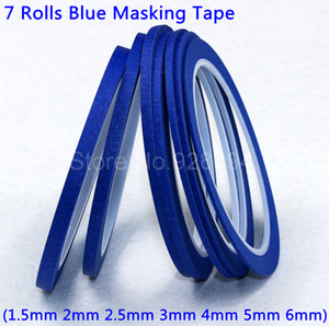 Wholesale- 2016 7 Rolls Blue Masking Tape Good For Finger Nail Polish Painting Decoration Free Shipping Mix-Blue7
