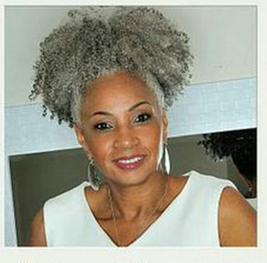 100% cabello gris real clip de extensión de pelo de cola de caballo afro en Remy afro rizado cordón de cola de caballo pieza de cabello gris 120g