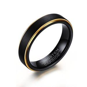 Anillos de bodas de carburo de tungsteno de 5 mm, dos tonos, acabado negro mate, con diseño de bordes dorados, grabado personalizado gratuito